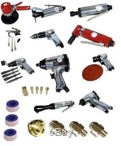 38 Pc Automotive Shop Pneumatic Air Tool Set Drill Wrench Ratchet Sander Grinder