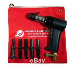 Aircraft Tools 2x Pneumatic / Air Rivet Gun With. 401 5pc Snap Set In Pouch
