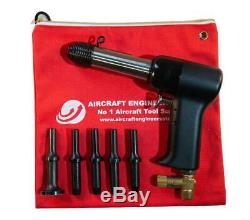 Aircraft Tools 4x Pneumatic / Air Rivet Gun With. 401 5pc Snap Set In Pouch