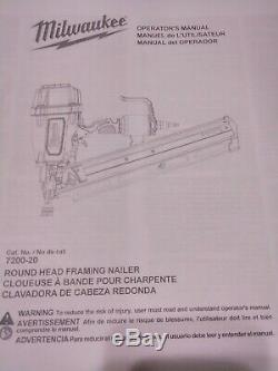 Milwaukee Round Head Framing Nailer 7200-20 with UserManual & 1/4 NPT Air Fitting