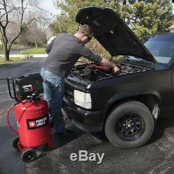 Portable Electric Air Compressor Semi-pneumatic Wheels Rubber Feet 20 Gal