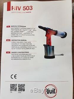 RIVIT RIV503 HYDRO-PNEUMATIC AIR RIVET GUN TOOL 3.2mm 4.8mm RIV503